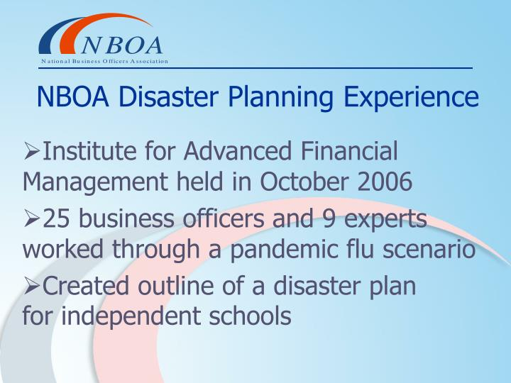 NBOA Disaster Planning Experience