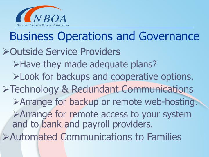 Business Operations and Governance
