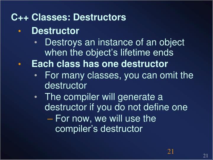 C++ Classes: Destructors