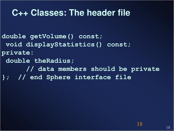 C++ Classes: The header file