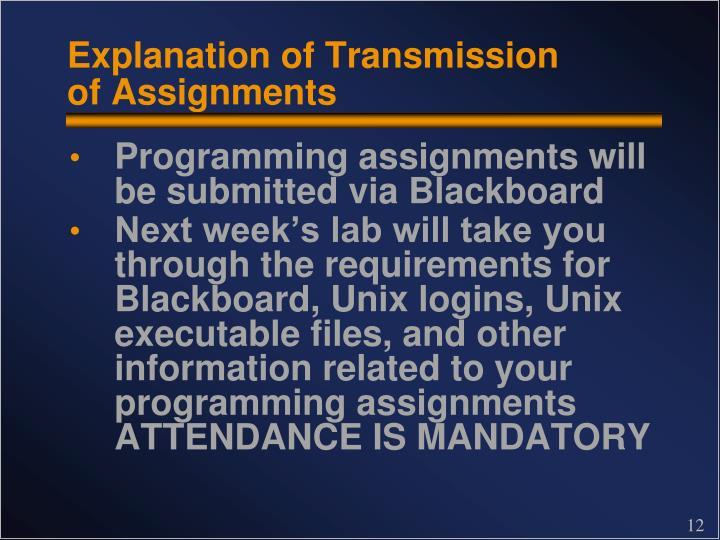 Explanation of Transmission