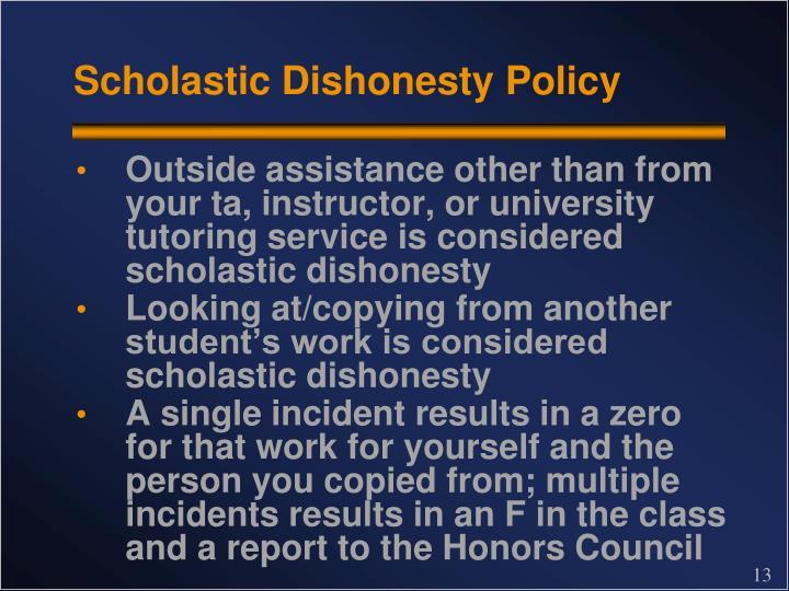 Scholastic Dishonesty Policy
