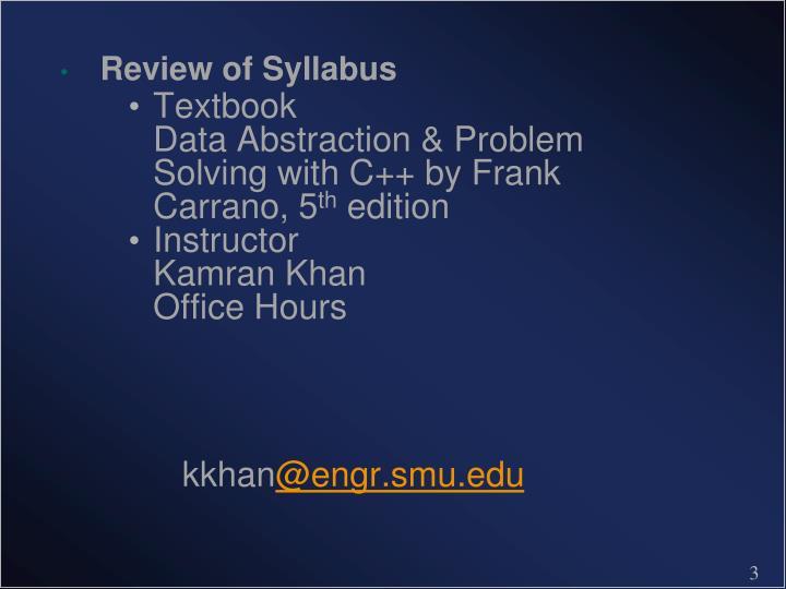 Review of Syllabus