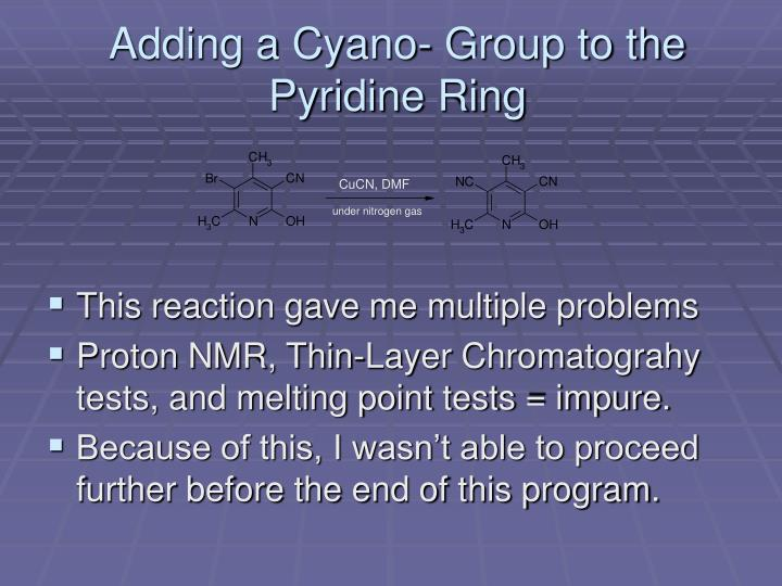 Adding a Cyano- Group to the Pyridine Ring