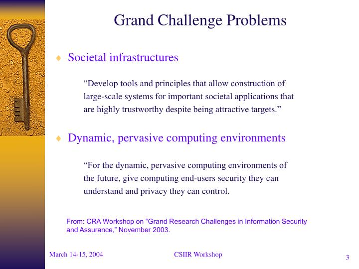 Grand challenge problems