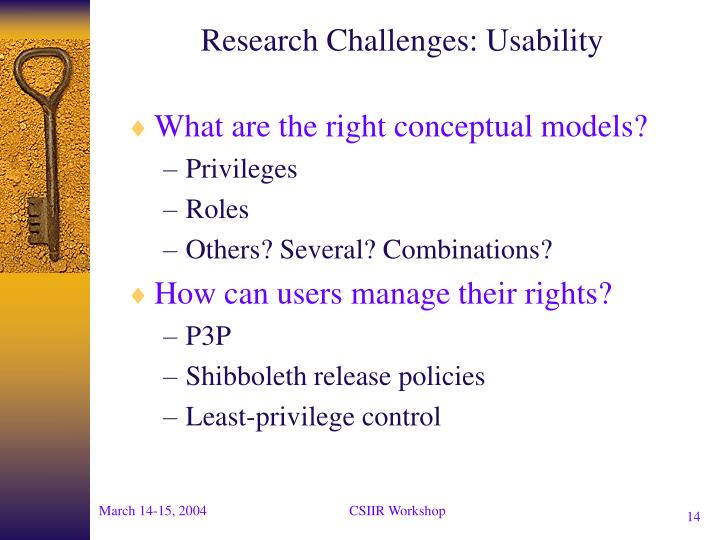 Research Challenges: Usability