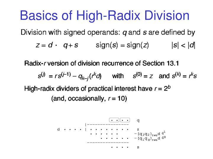 Basics of High-Radix Division