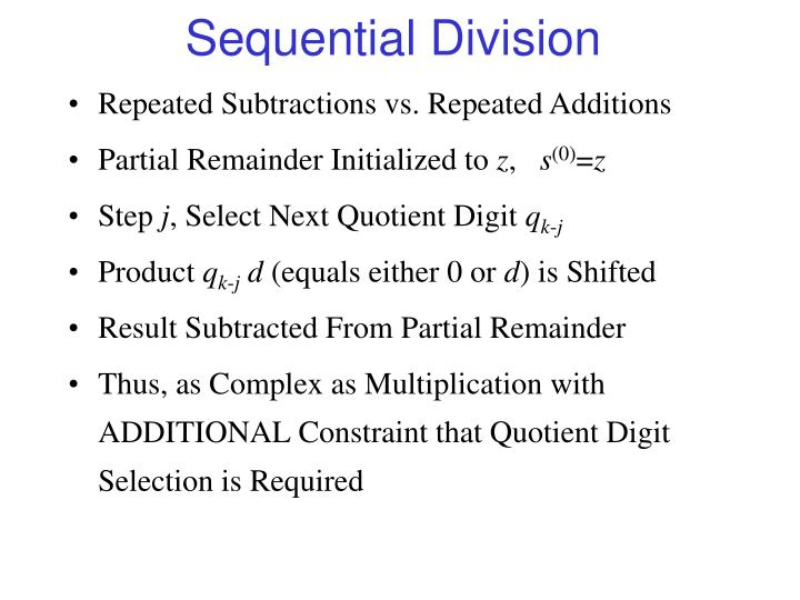 Sequential Division