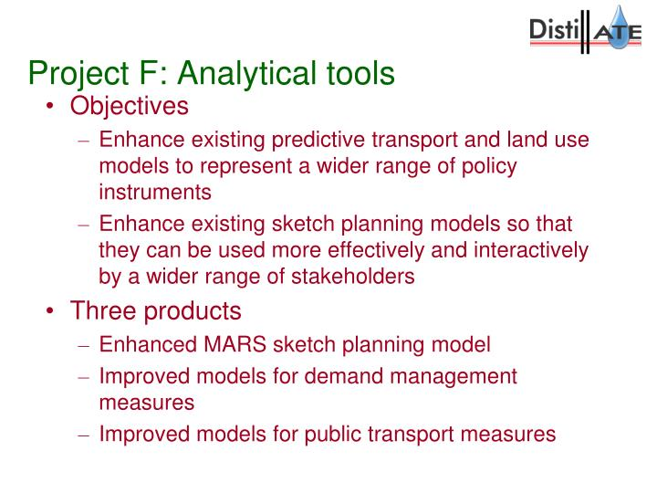 Project F: Analytical tools
