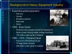 background of heavy equipment industry