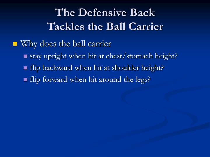 The Defensive Back