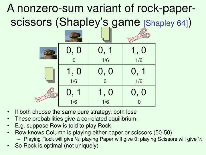 A nonzero-sum variant of rock-paper-scissors (Shapley's game