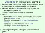 learning in normal form games