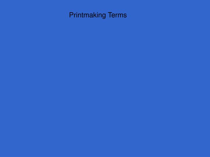 Printmaking Terms
