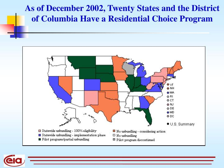 As of December 2002, Twenty States and the District of Columbia Have a Residential Choice Program