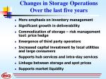 changes in storage operations over the last five years