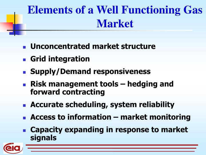 Elements of a Well Functioning Gas Market