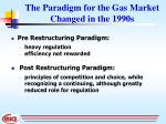 the paradigm for the gas market changed in the 1990s