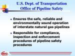 u s dept of transportation office of pipeline safety