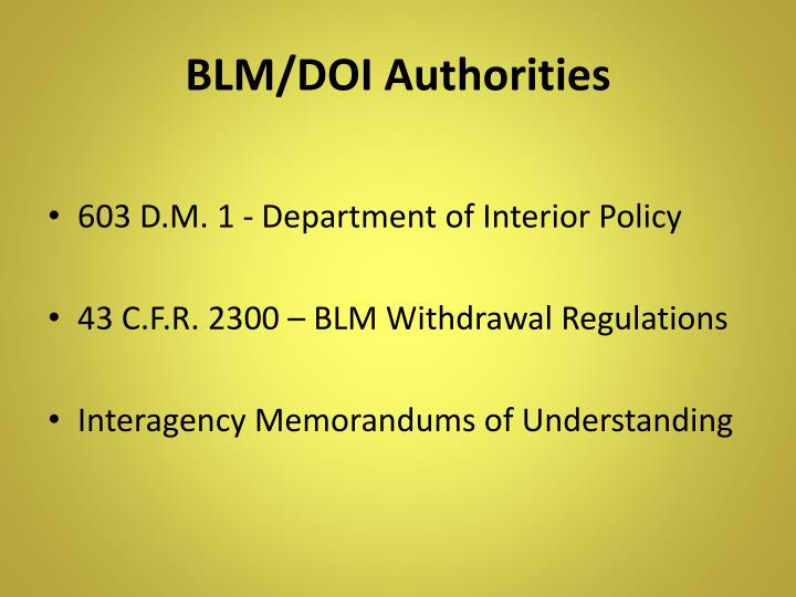BLM/DOI Authorities