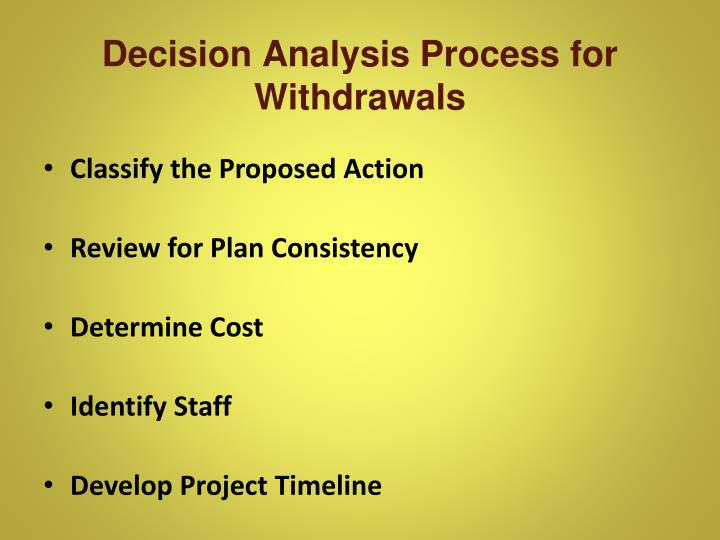 Decision Analysis Process for