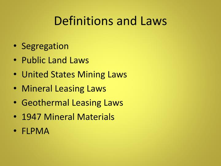 Definitions and Laws