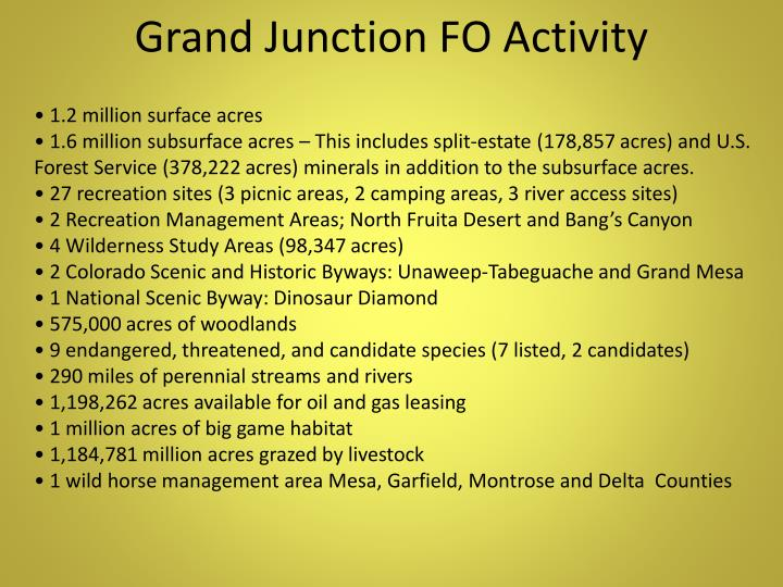 Grand Junction FO Activity
