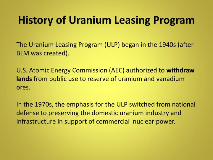 History of Uranium Leasing Program