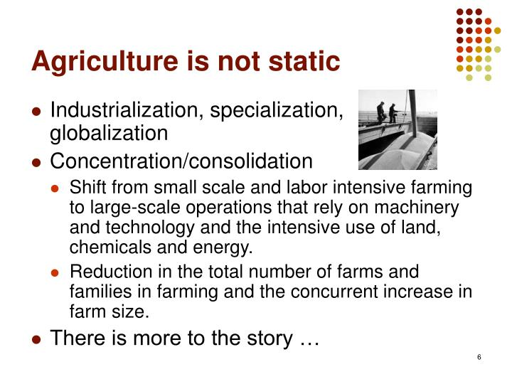 Agriculture is not static