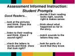 assessment informed instruction student prompts
