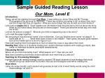 sample guided reading lesson our mom level e