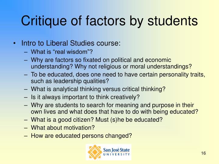 Critique of factors by students