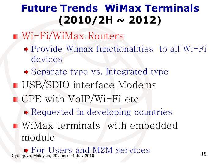 Future Trends  WiMax Terminals