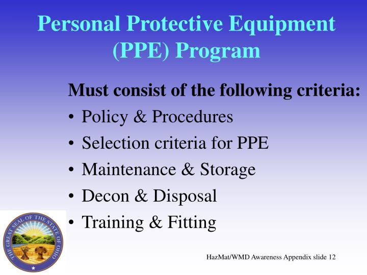 Personal Protective Equipment (PPE) Program