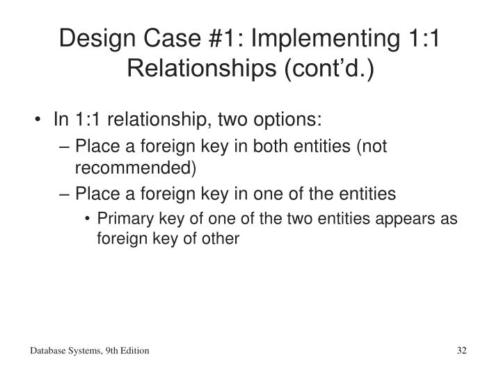 Design Case #1: Implementing 1:1 Relationships (cont'd.)