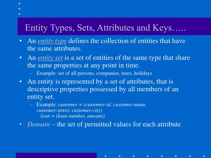 Entity Types, Sets, Attributes and Keys…..