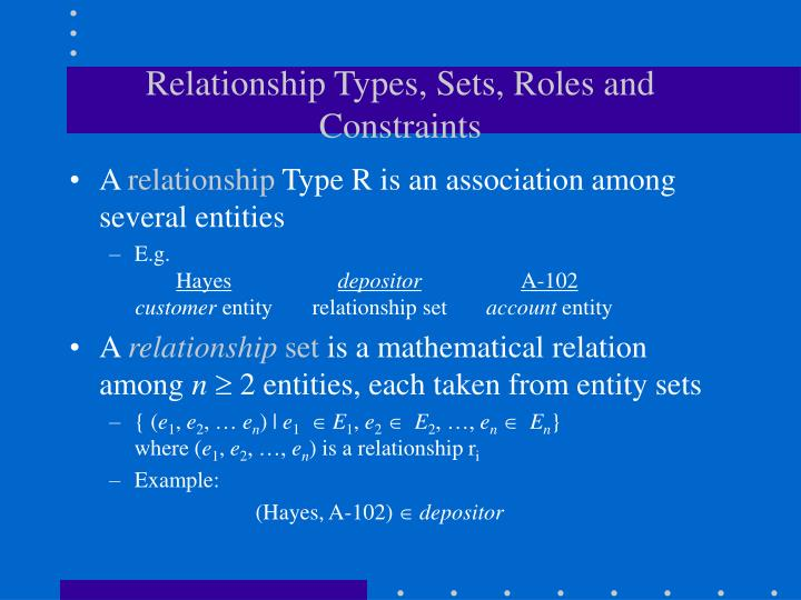 Relationship Types, Sets, Roles and Constraints