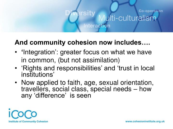 And community cohesion now includes….