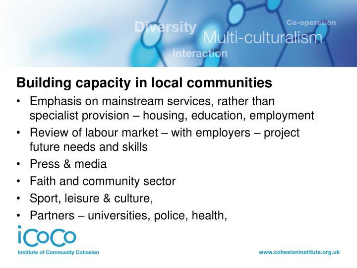 Building capacity in local communities