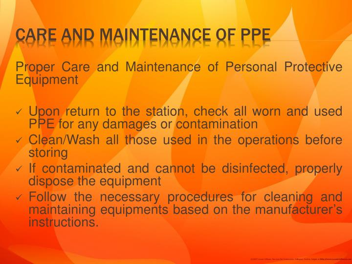 Proper Care and Maintenance of Personal Protective Equipment