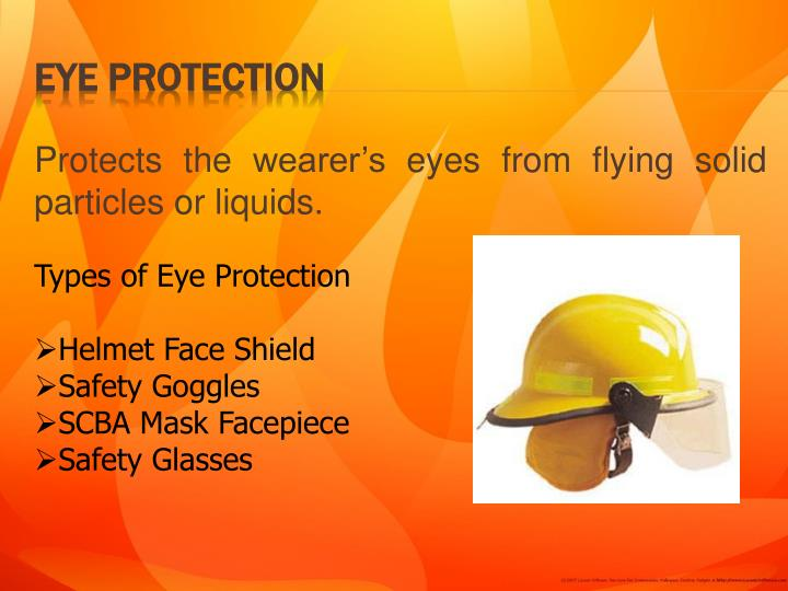 Protects the wearer's eyes from flying solid particles or liquids.
