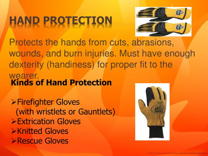 Protects the hands from cuts, abrasions, wounds, and burn injuries. Must have enough dexterity (handiness) for proper fit to the wearer.