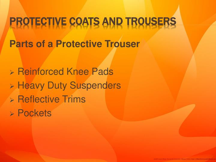 Parts of a Protective Trouser