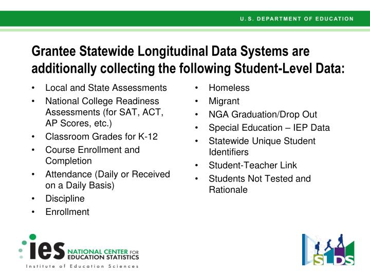 Grantee Statewide Longitudinal Data Systems are additionally collecting the following Student-Level Data: