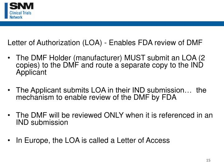 Letter of Authorization (LOA) - Enables FDA review of DMF