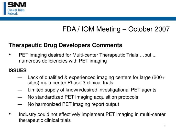 FDA / IOM Meeting – October 2007