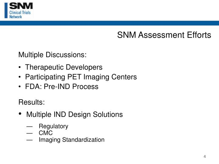 SNM Assessment Efforts