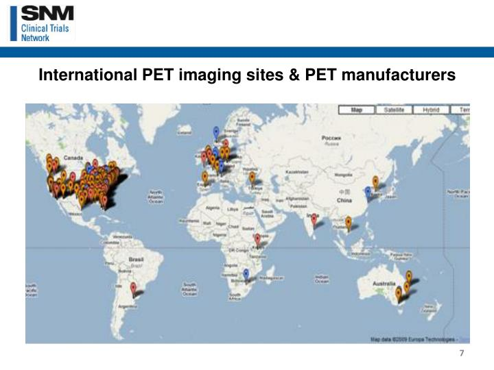 International PET imaging sites & PET manufacturers