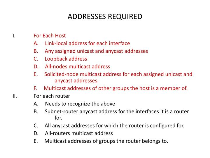 ADDRESSES REQUIRED