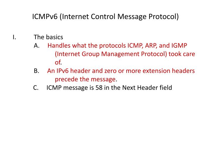 ICMPv6 (Internet Control Message Protocol)